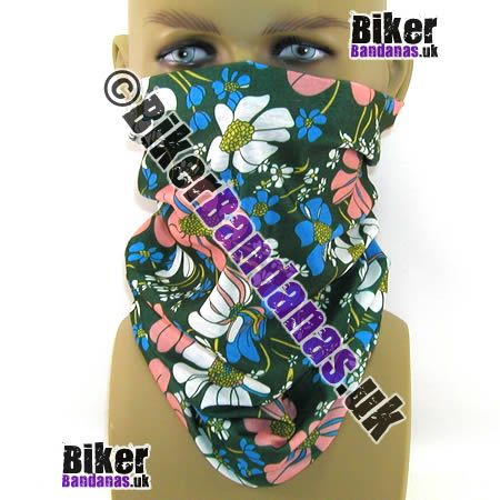 Green Floral Flower Multifunctional Headwear / Neck Tube Bandana. One of over 400 styles for Men and Women
