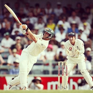 """Adam Gilchrist: """"At the end of our sessions, having drilled this or that specific technique, dad would say 'Ok, just hit the ball now.' That was what I loved most of all. As methodical as our approach was, I was never overly fussed with technique. The enjoyable part of batting throughout my career will forever be an echo of that blissful moment when...."""" Click the photo to read this cricket quote in full."""
