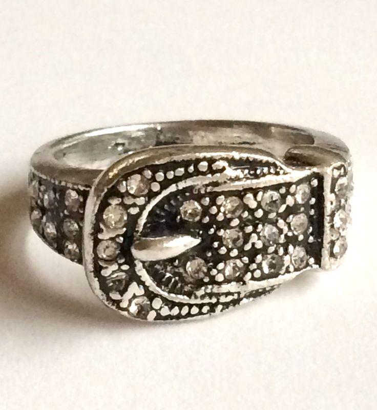 Silver Belt Buckle Ring Plated Band Country Western Crystal Cute Size 6 7 8 9 #Unbranded #Band