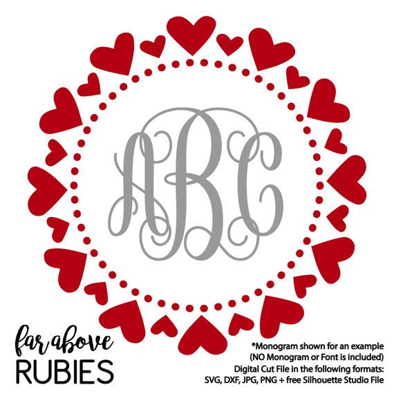 Happy Valentine's Heart Pattern Monogram Wreath Dots (monogram NOT included) - SVG, DXF, png, jpg digital cut file for Silhouette or Cricut