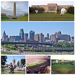 From top left: the Liberty Memorial, the Nelson-Atkins Museum of Art, the Kansas City skyline, the Country Club Plaza, Arrowhead Stadium, and Kauffman Stadium