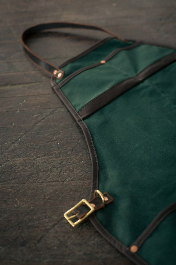 Waxed Canvas and Leather Apron Green/Brown от MercyLeatherWork