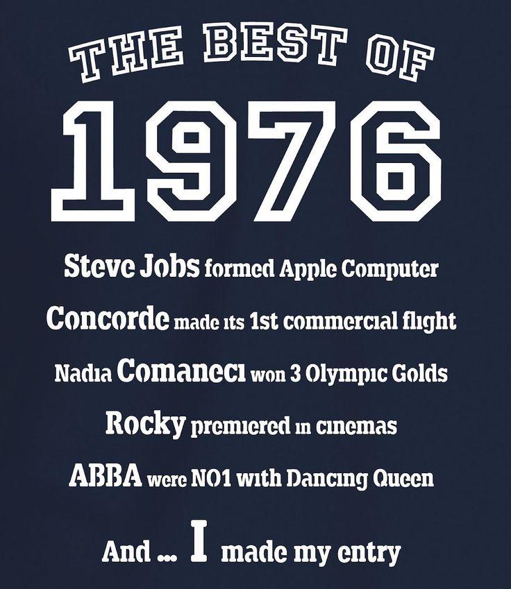 """Camiseta para Hombre """"The Best of 1976"""" para Regalo de 40 Cumpleaños: Ny, XL"""