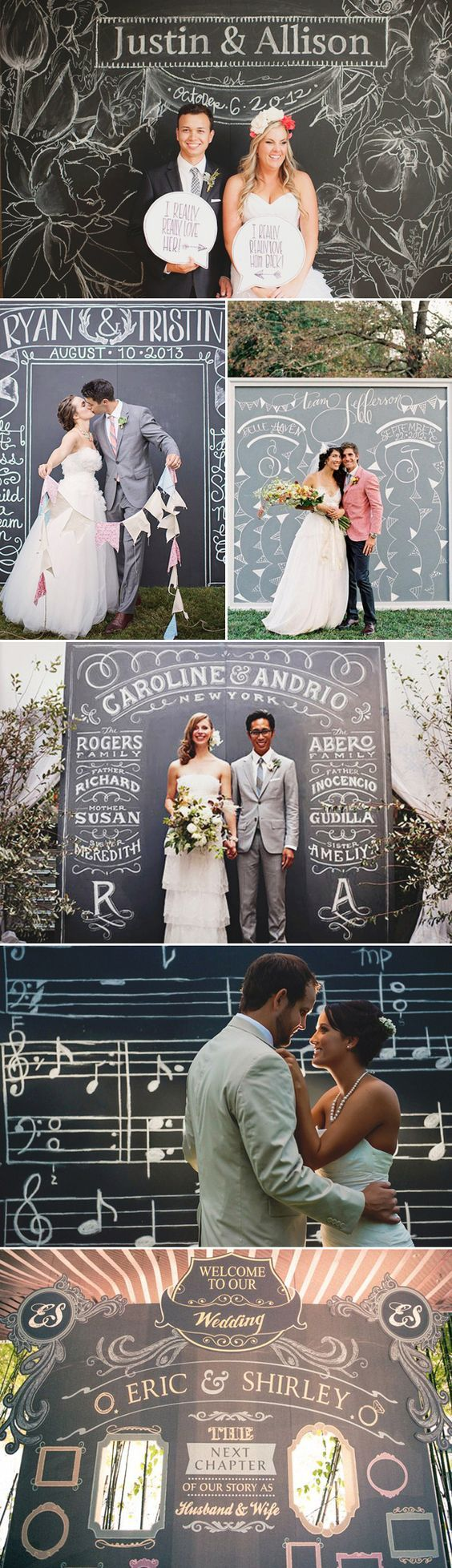 Guest DIY Chalk Backdrop / http://www.deerpearlflowers.com/chalkboard-wedding-ideas/2/