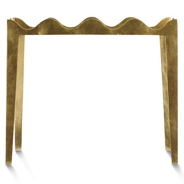 """Ruffle end table, finished in gold leaf, 28"""" h. x 30"""" l. x 18"""" w., $2,685"""