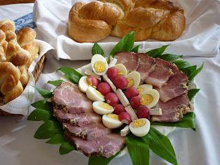 Hungarian Easter plate - ham, eggs, horse radish, milk-loaf