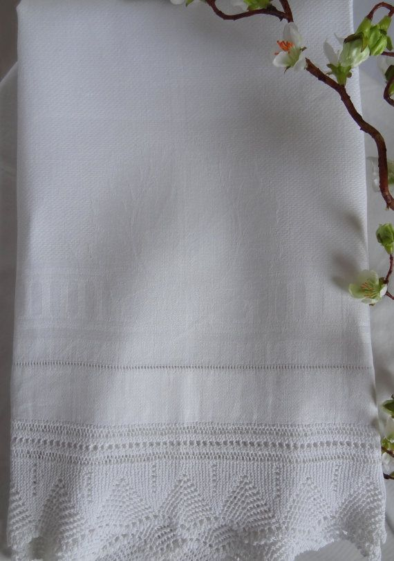 Victorian Guest Towel White cotton beautiful by LilysVintageLinens