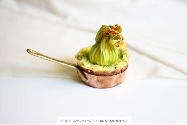 zucchini blossom mini quiches.