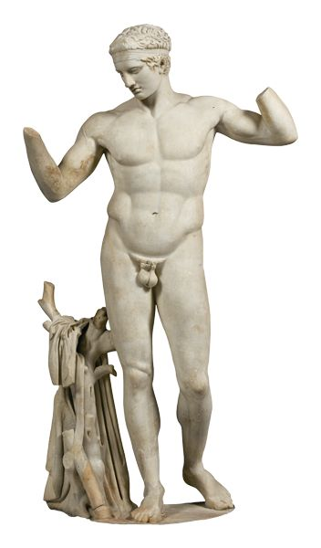 Marble statue of an athlete binding his hair (diadoumenos), found on Delos, Cyclades. Copy from about 100 BC of an original from 450-425 BC.