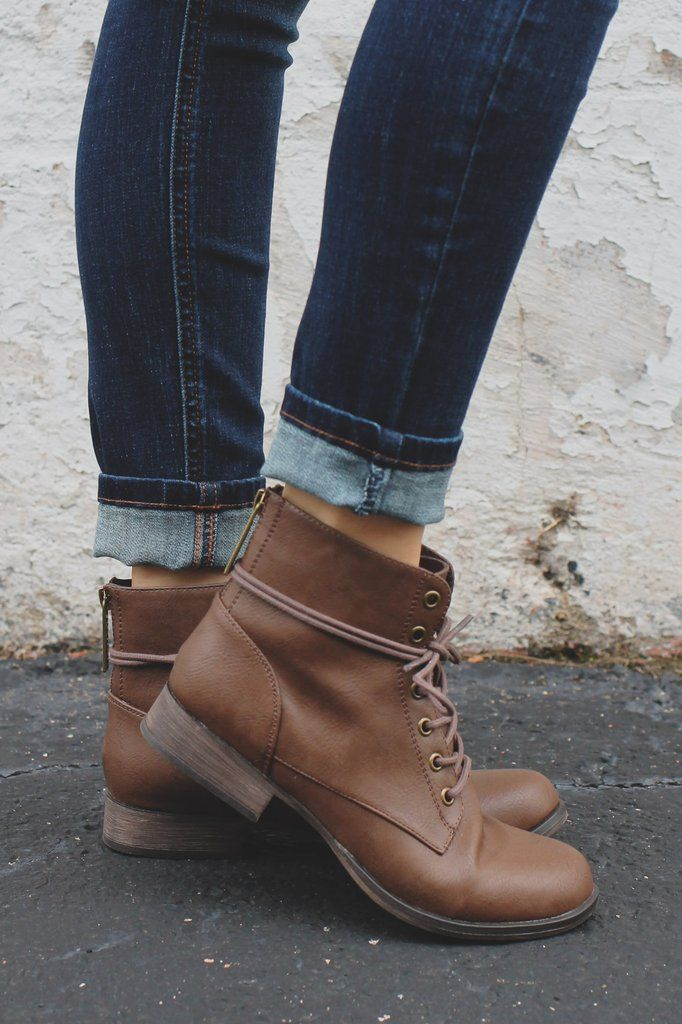 Brown Round Toe Combat Style Booties