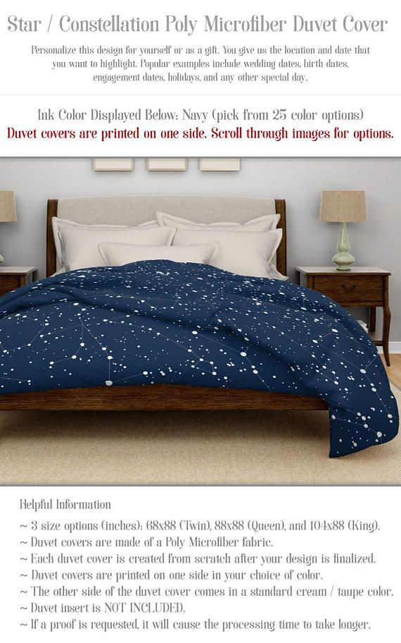 Twin Queen Or King Duvet Cover No Insert Poly Microfiber Fabic Personalize Color And Night Sky Stars Unique Duvet Covers Duvet Covers Modern Duvet Covers