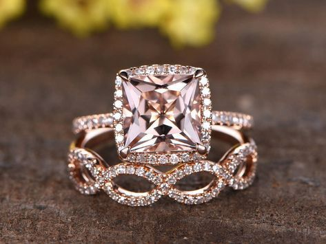 8mm Princess Cut Pink morganite engagement ring set,Micro pave diamond wedding band,2pcs rings,solid 14k rose gold,unique split shank band