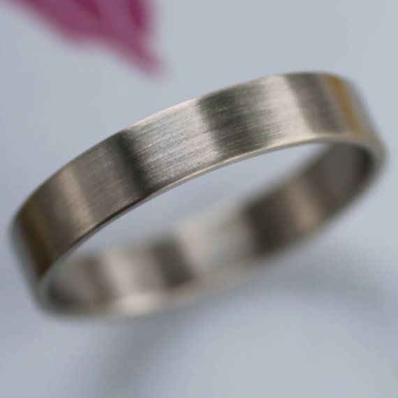 Mm Flat Wedding Band Us Sizes In Palladium Or Gold Bespoke Eco Friendly Recycled Palldium Ring Satin Brushed Finish