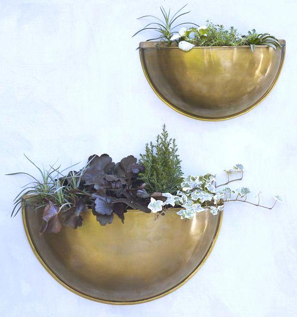 The Most Dapper Garden Accessory // Sola brass wall planter, Rowen & Wren, patio