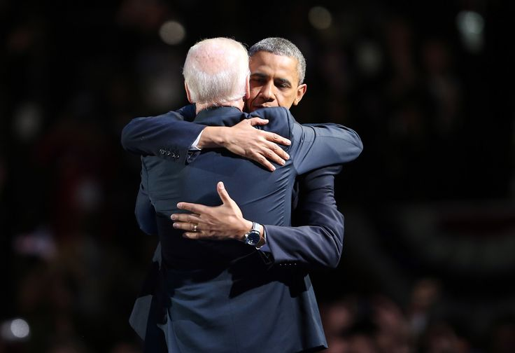 U.S. President Barack Obama and U.S. Vice President Joe Biden embrace on stage after his victory speech on election night at McCormick Place November 6, 2012 in Chicago, Illinois. Obama won reelection against Republican candidate, former Massachusetts Governor Mitt Romney.