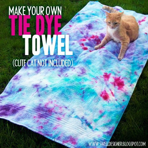 Handtuch batiken! Tolle Idee, geht bestimmt noch schöner (Regenbogen!).