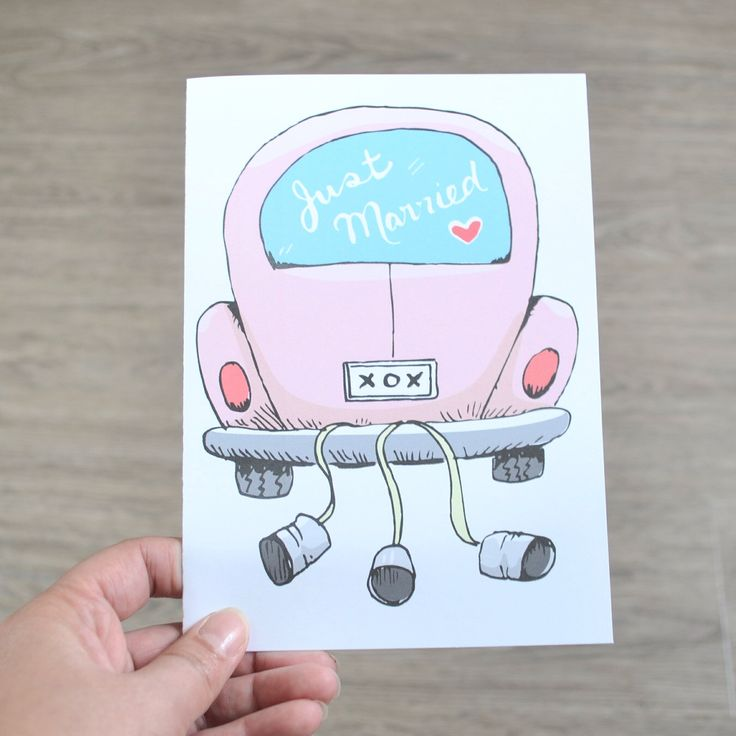 Wedding Card, Engagement Card, Just Married Getaway Car illustrated card, Great for Bridal shower gift, wedding gift by AMTaylorArt on Etsy https://www.etsy.com/ca/listing/279107682/wedding-card-engagement-card-just