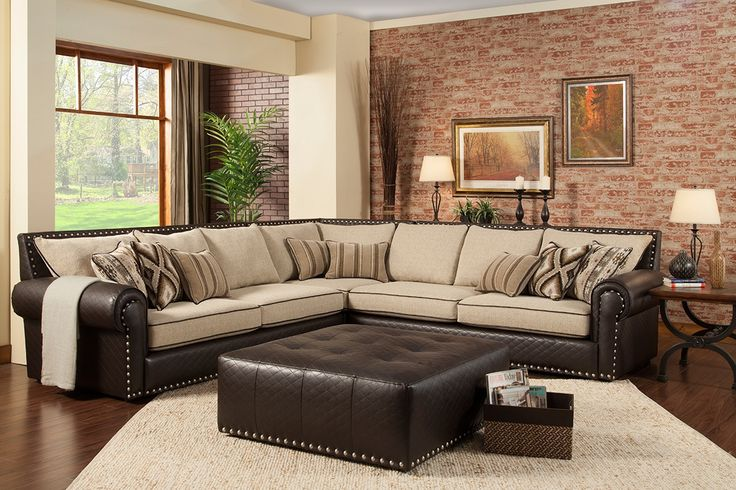 Charming Classy Sectional Cream And Brown