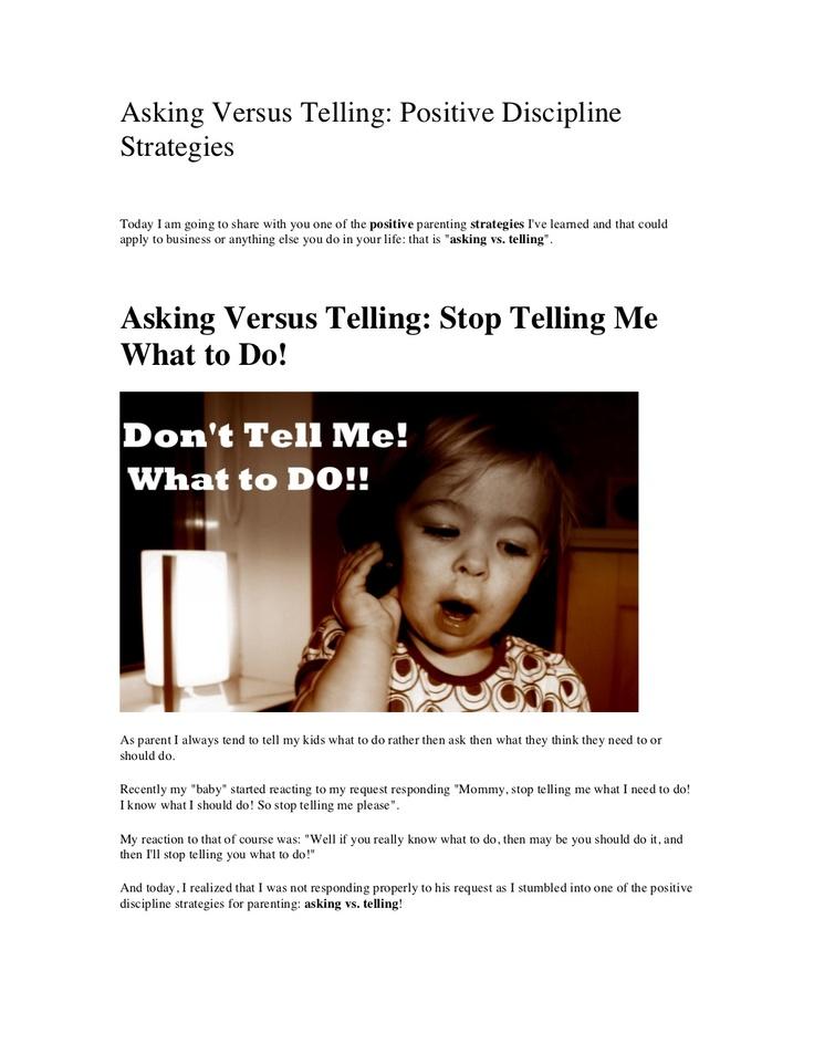asking-versus-telling by Lala Johnson via Slideshare
