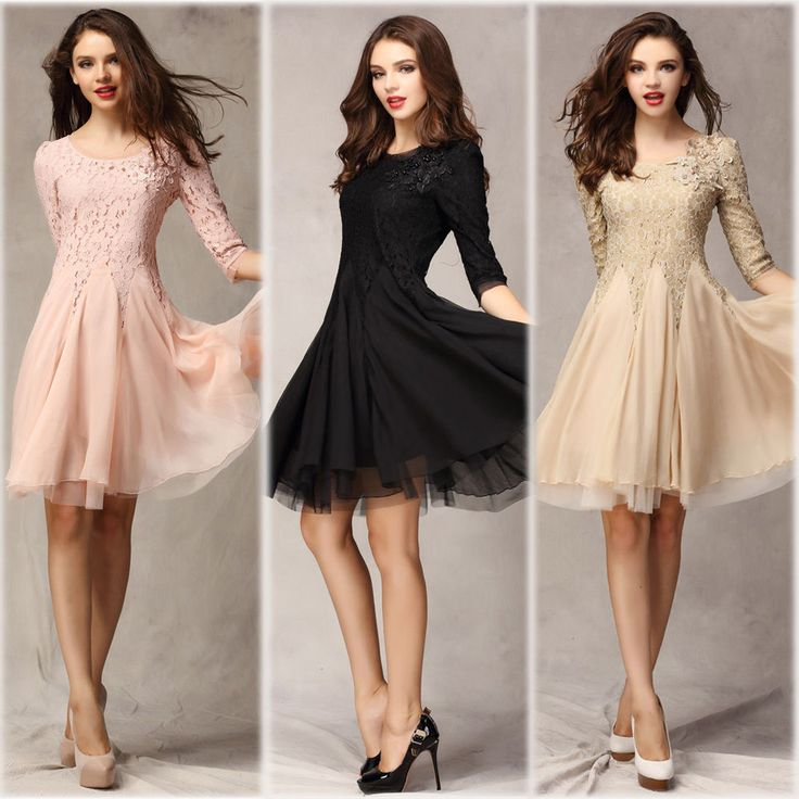 Fashion Ladies Dresses 3/4 Sleeve Slim Fit Tunic Ball Gown Evening Party Dress #Unbranded #BallGown #Casual