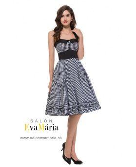 Retro šaty karované čierno-biele