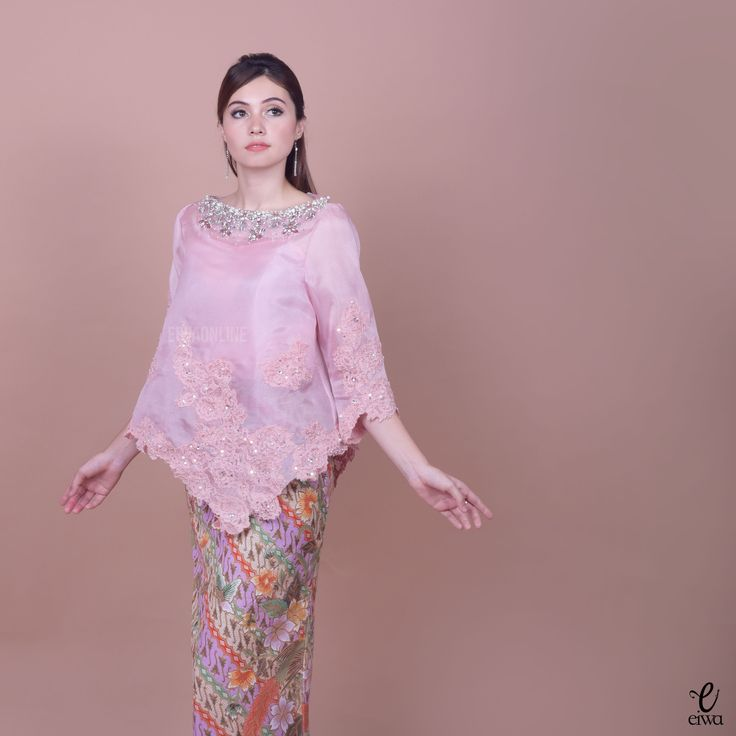 Kebaya Indonesia modern high low - hi low lace brokat organdi organdy organza embellished embroidery long sleeve hijab muslim baju bodo IG : @eiwaonline