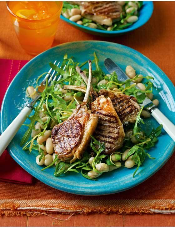 Lamb cutlets with cannellini beans and Parmesan dressing. Mouth-watering Italian main course recipe.