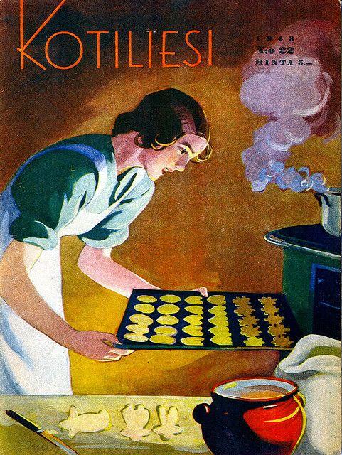 Kotiliesi, Vintage Magazine cover by Martta Wendelin, 1943.