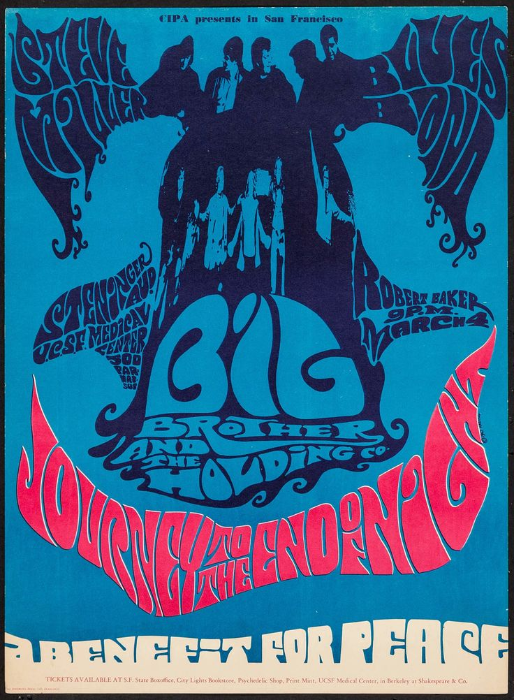 """Journey to the End of the Night: A Benefit For Peace (CIPA, 1967). Concert Poster (13.75"""" X 18.5""""). Rock and Roll. Offered is a benefit for peace concert poster at the Steninger Auditorium in San Francisco in 1967, featuring The Steve Miller Blues Band, Big Brother and the Holding Company, and Robert Baker, showcasing artwork by Krefting."""