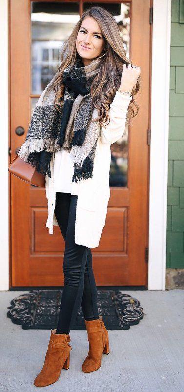 #winter #fashion /  White Blazer + Dark Scarf