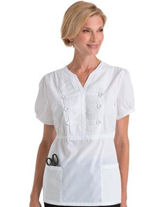 Landau Women Two Pocket Pleat Bodice Solid Nurse Scrub Top