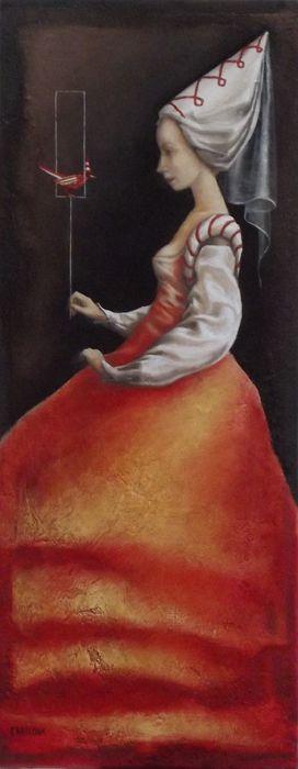 Catherine Chauloux, L'oiseau rouge - Huile sur toile - 20 x 50 cm