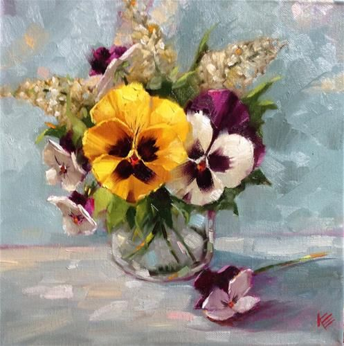 "Daily Paintworks - ""Pansies in Glass Jar 12x12 oil..."" by Krista Eaton"