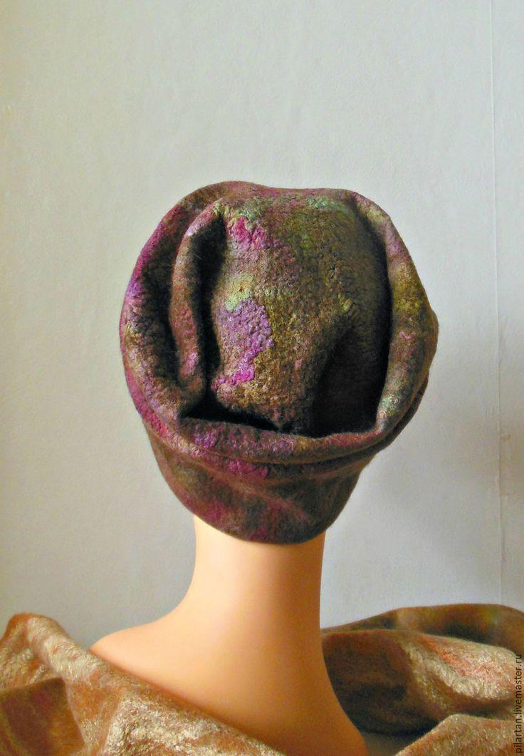"""Купить Шапка бини """"Глафира"""" валяная из шерсти - шапка, шапка женская, шапка валяная"""