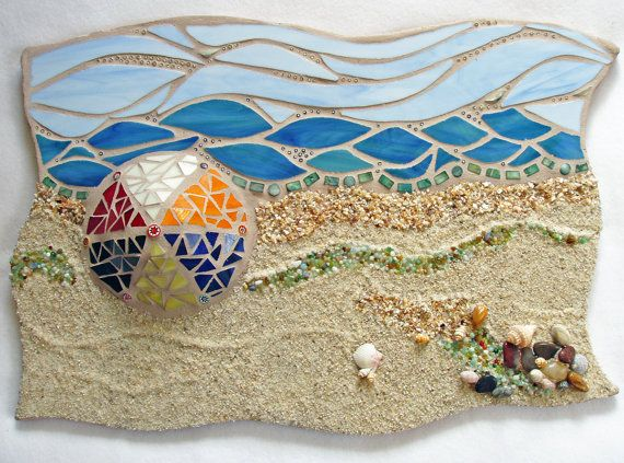 Mosaic Beach Ocean Scene Mixed Media Sculpted by FischerFineArts, $184.00