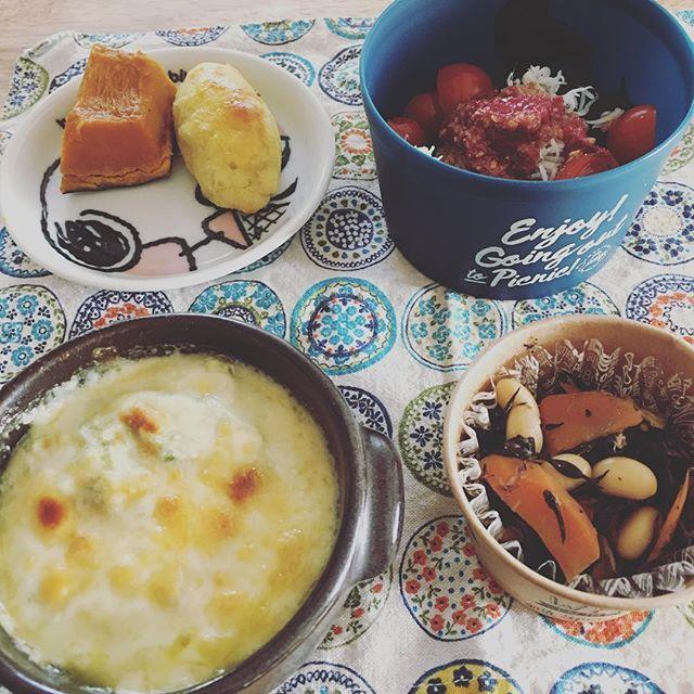 2016/11/02 13:46:10 hacchi.yuka *お昼ごはん ・ わかめレタスミニトマトのサラダ しらすと梅とはちみつのドレッシング ・ 大豆とひじきの煮物 ・ 南瓜の煮物 ・ 豆腐とアボカドとキノコのグラタン 味付けはシンプルに少しの醤油と白だしとチーズ ・ スイートポテト ・ ・ ご飯とお肉食べなくても大満足な食事♡ ・ #1日1食#意外に耐えられる#タモリさんも1日1食 #健康#無添加#てんさい糖#国産 ・ #ま 大豆・とうふ #ご すりごま #わ わかめ・ひじき #や かぼちゃ・にんじん・レタス・トマト・アボカド #さ しらす #し しめじ・マッシュルーム #い さつまいも #す・お酢  #健康