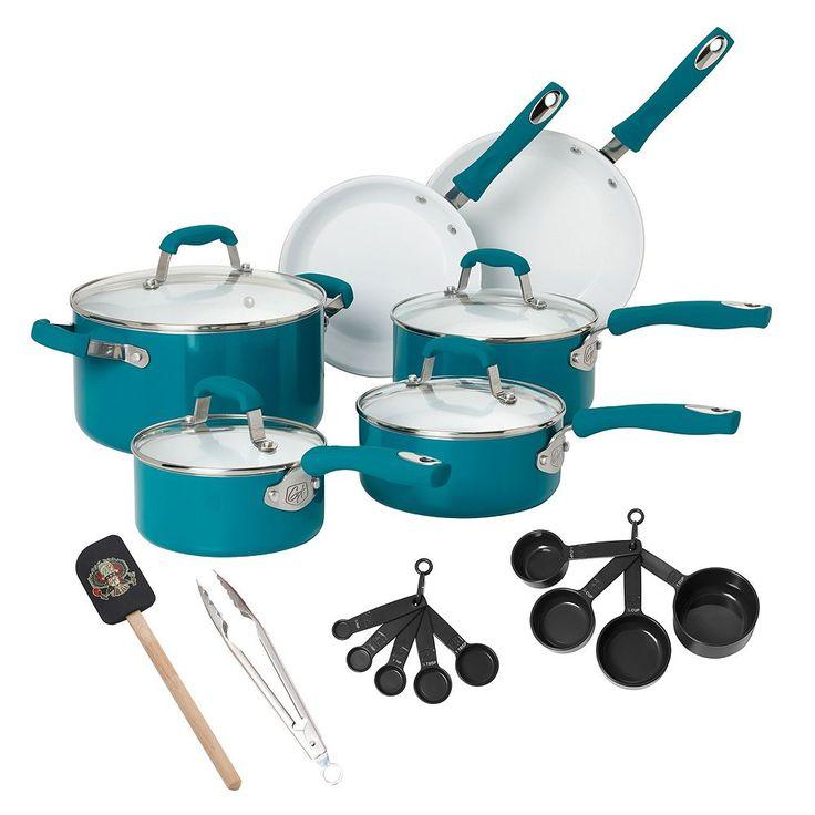 Guy Fieri 21-pc. Ceramic Nonstick Cookware Set, Turquoise/Blue (Turq/Aqua)