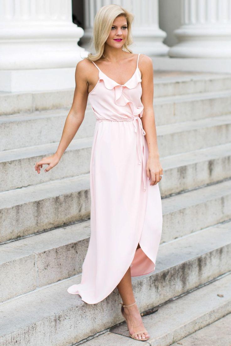 Pink fringe maxi dress
