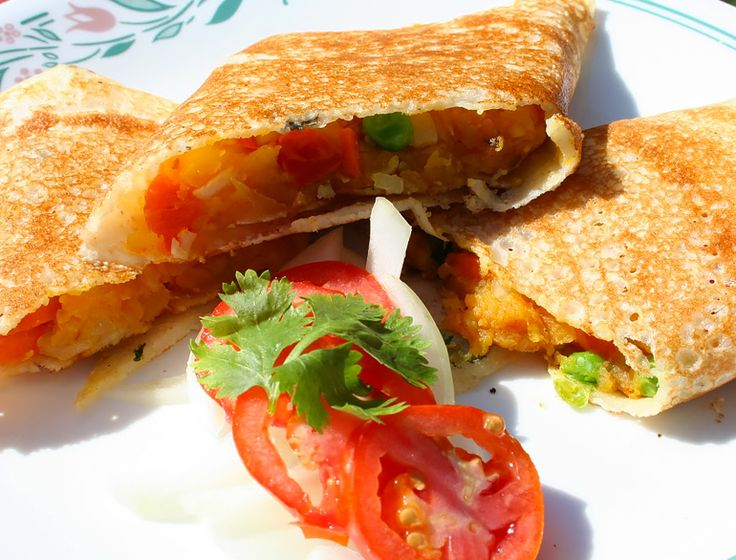 The Dosa is another classic example. Dosa is essentially a South Indian dish made out of rice batter and eaten with potato stuffed inside it and a sambhar and coconut chatni to accompany it. It can be made crispy or soft depending on the requirement.