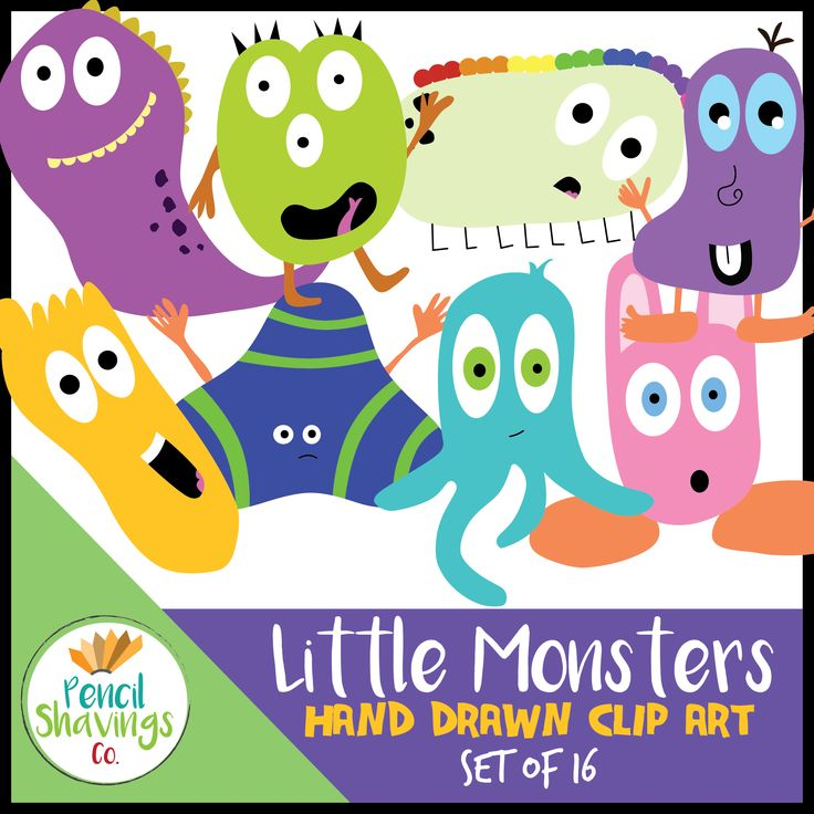 This cute little monsters set includes 8 unique images ready for any crazy project! Each image comes in full color, as well as black and white - for a total of 16 images!  The images are all approximately 7in by 7in and are on a transparent background for seamless designs. Each image is in a re-sizable PNG format.  https://www.teacherspayteachers.com/Store/Pencil-Shavings-Co