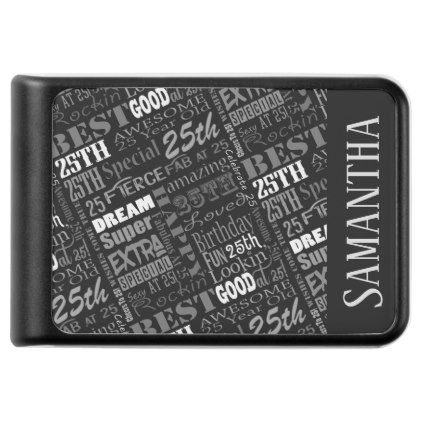 25th Birthday Party Special Personalized Monogram Power Bank - black gifts unique cool diy customize personalize
