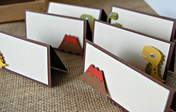 Dinosaur Birthday Party Food Buffet Name Tags (set of 6) - We Bring the Party - 1