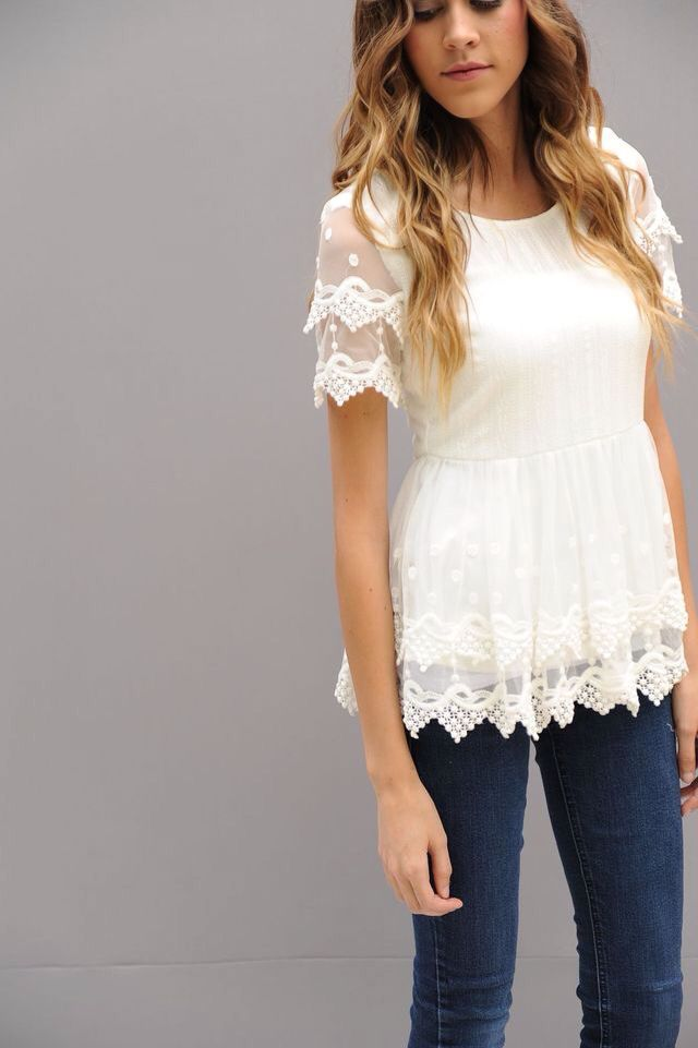 Double lace peplum shirt