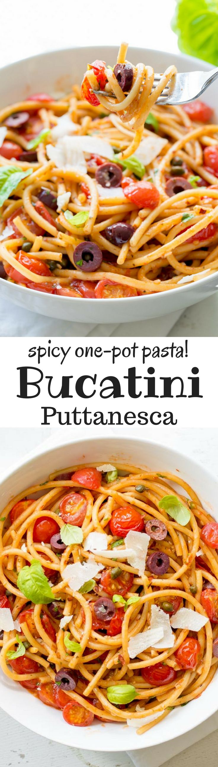 Bucatini Puttanesca ~ a deliciously easy one-pot pasta dish with a simple but zesty sauce and loads of fresh tomatoes, olives and capers. www.savingdessert... anchovy | red pepper | bucatini pasta | spaghetti | cherry tomatoes | kalamata olives | capers | meatless monday