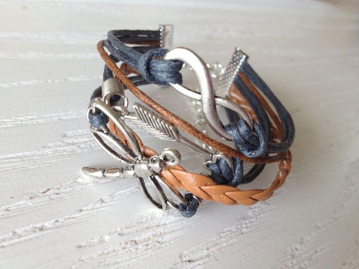DeBella leather strap Infinity Arrow Dragonfly by cissdena on Etsy, $10.00