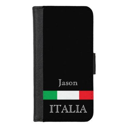 #Flag of Italy on black with name iPhone 8/7 Wallet Case - #elegant #gifts #stylish #giftideas #custom