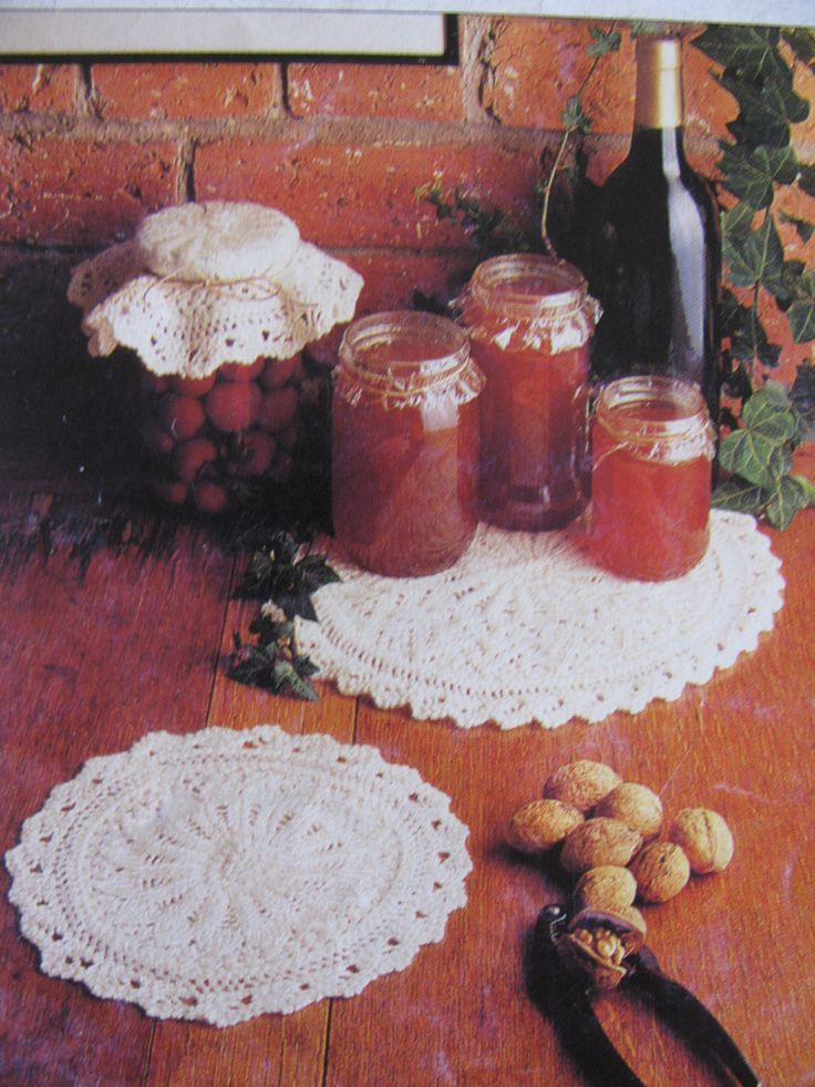 Preserve Covers or Doilies Knitting Pattern PDF Instant Download Knitted Jam Jar Covers Knitted Doily 5 Ply by TassieVintage on Etsy