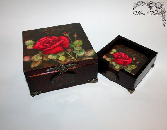 Exclusive tea box, tea, tea bag, tea box, wood with cup coaster