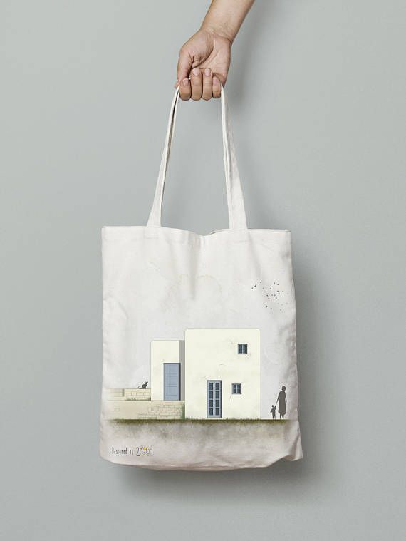 Tote bag canvas, printed tote bag, Shopping bag, Shoulder bag, Cotton tote bag, hand drawn art, greek art, Everyday carry, Amorgos house 1