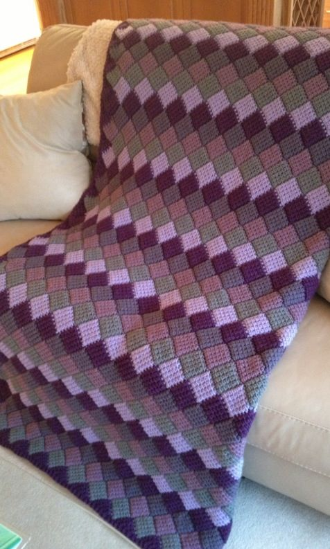 Purple and grey Tunisian entrelac afghan for my sister. ~ Leslie Molengraaf